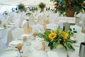 Sunflowers & flower pots wedding